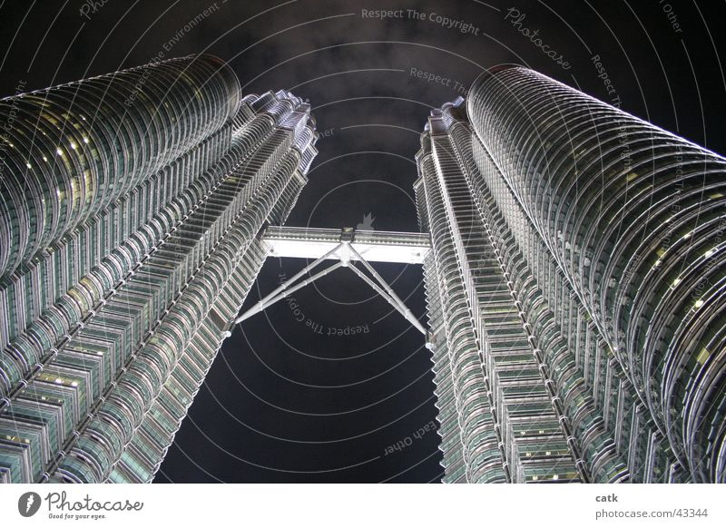 Petronas Twin Towers @ night Success Company Kuala Lumpur Malaya Asia High-rise Bank building Bridge Gate Manmade structures Building Architecture Facade