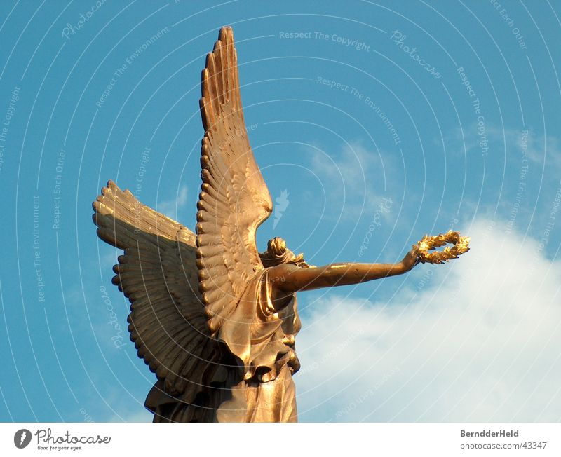 golden gel Prague Angel Gold Wing Blue Sky