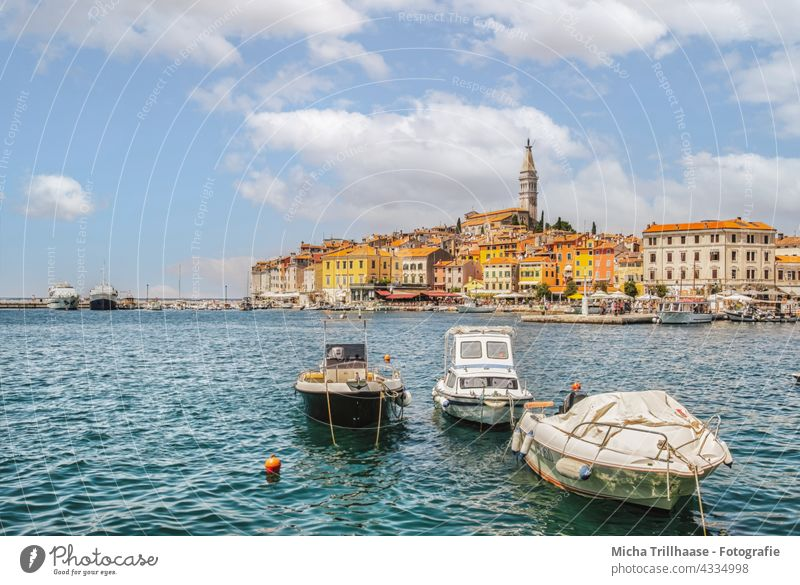 Skyline of Rovinj / Croatia Istria Port City Town House (Residential Structure) Church Tower Harbour Motorboat Tourism Vacation & Travel Ocean Europe