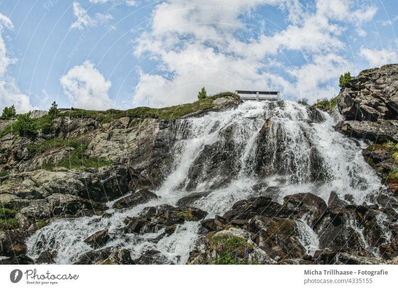 Rifflbach - Waterfall in the Kaunertal / Austria Tyrol Alps Flow overthrow sb./sth. plummet Landscape Nature Rock Stone stone mountains trees Sky Clouds Tourism