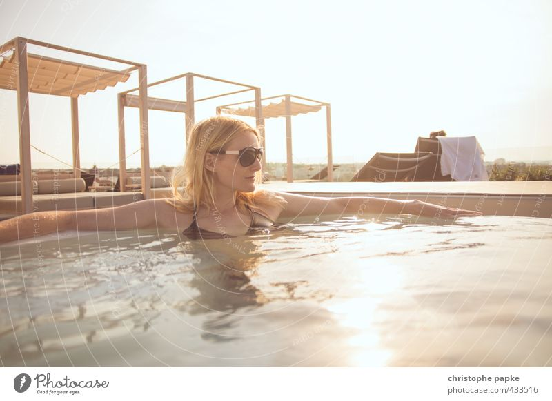 Blonde woman in whirlpool Young woman Whirlpool Relaxation Swimming & Bathing Spa Lifestyle Sunlight Luxury Style Wellness Vacation & Travel Harmonious