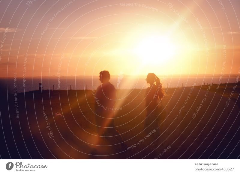 ystad Human being Couple Partner Youth (Young adults) Adults 2 To enjoy Joy Happy Contentment Joie de vivre (Vitality) Colour photo Exterior shot Evening Light
