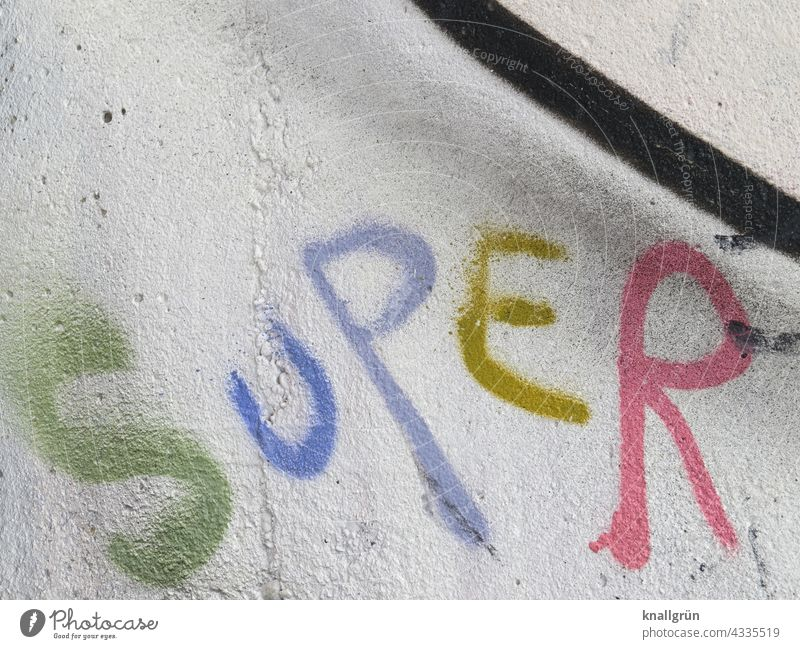 SUPER Graffiti super Communication Text Characters Letters (alphabet) Word Typography Deserted writing communication Language Compromise Communicate