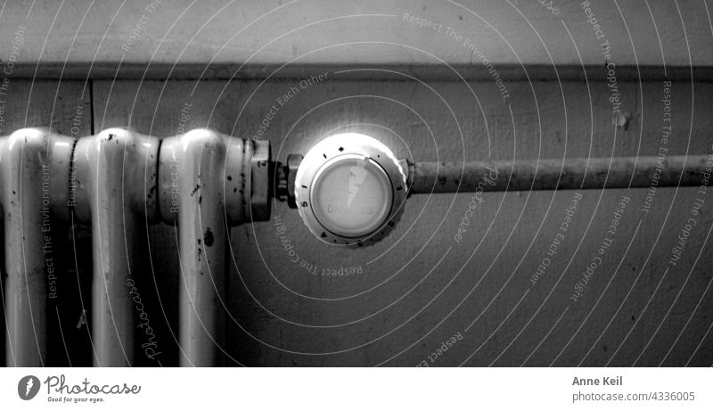 Heater in black / white Warmth Heating Deserted Old Energy industry Heat generation