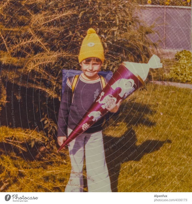 Dwarf Fox First day at school School Child Colour photo Infancy Multicoloured Education Study Student School candy cone First class Anticipation Schoolchild