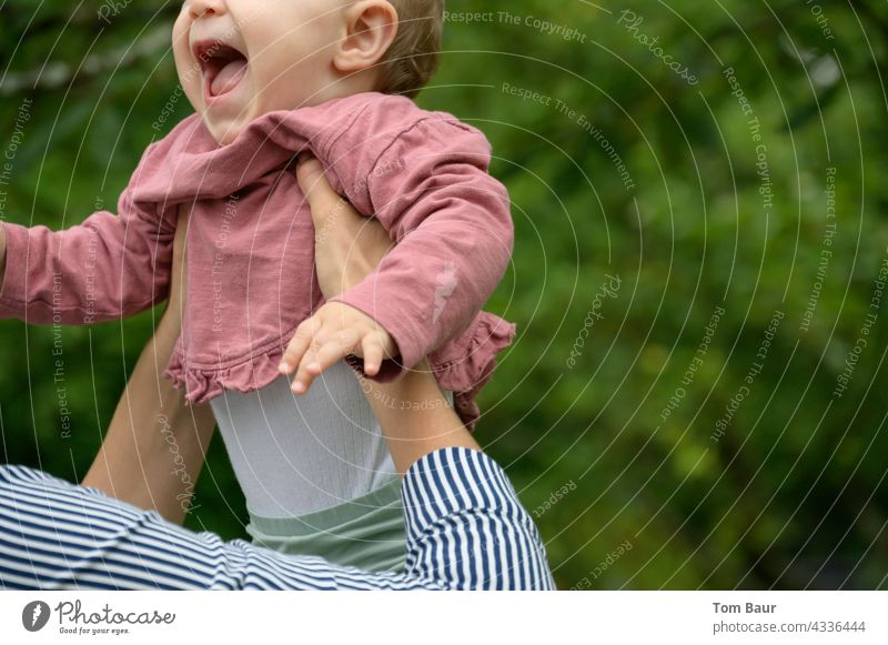Children's laughter - baby is caught catch Colour photo Multicoloured Considerate Cute 1 - 3 years Movement Infancy Life Joie de vivre (Vitality) Happy