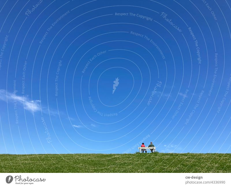 The other day on the bench in Cuxhaven Cuxhafen persons Sit Pensioners pensioners' bank Bench Relaxation Lawn Sky minimalism Break Calm Green Loneliness