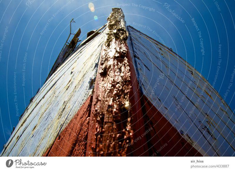 pitted Fishing boat Old Broken Blue Red White Keel Plank Reflection Sky Putrefy Bow wooden boat Motor barge Dinghy sloop Upward