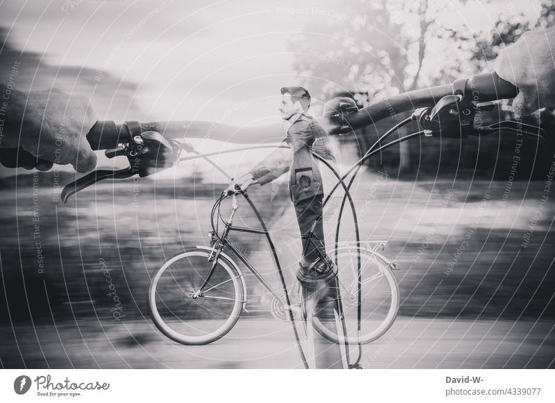 The bicycle as a means of transport Bicycle Mobility Double exposure Cycling Man Movement Speed Driving cyclists