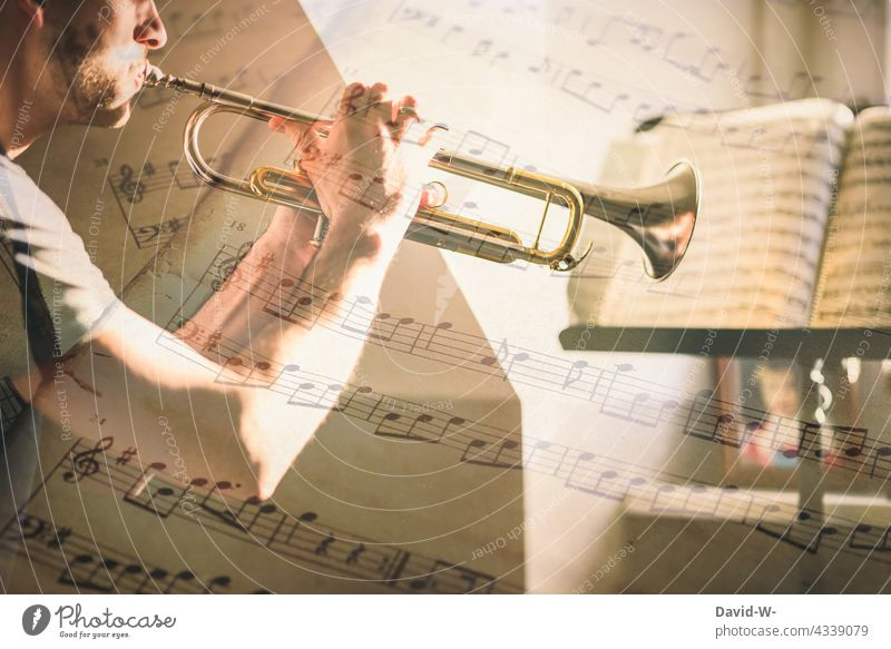 Musician practicing with the trumpet Practice Trumpet study diligence Ambition discipline Musical instrument notes Artist Playing