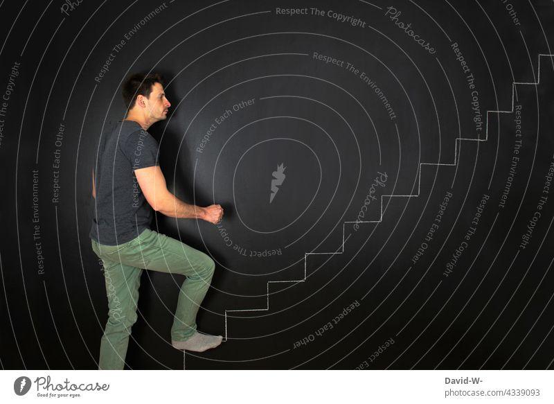 ascend - concept for success Upward upward trend Success concept Man Go up Stairs stair treads Career ascent Chalk Blackboard Creativity