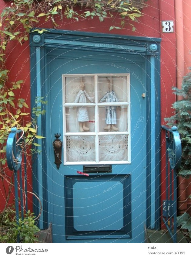Blue Red House (Residential Structure) Couple Architecture Door In pairs Entrance Hare & Rabbit & Bunny Bremen The Schnoor