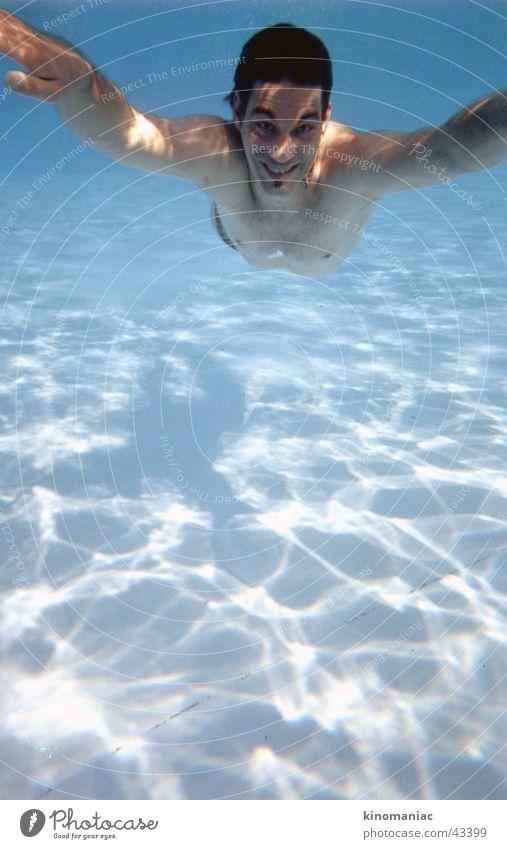 Man Water Sun Blue Summer Warmth Swimming pool Physics Under