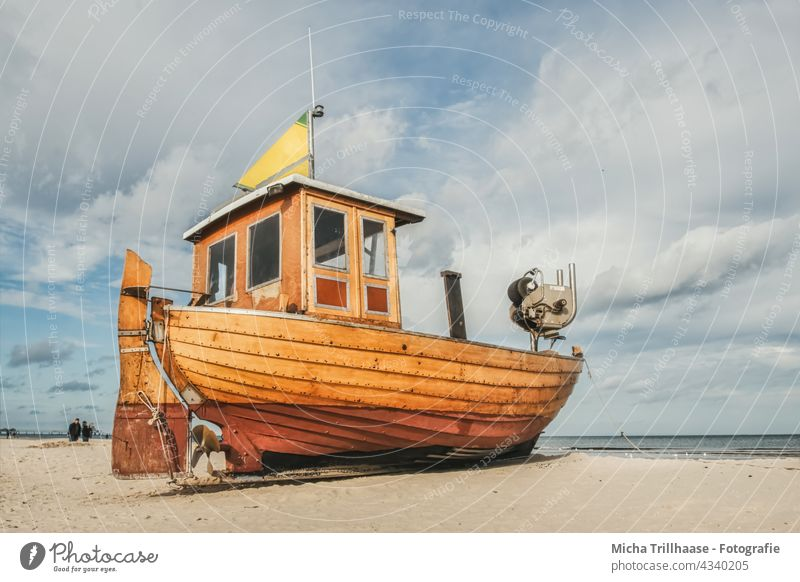 Old fishing boat on the Baltic Sea beach fishing cutter Fishing boat Motor barge Baltic beach Ahlbeck Usedom Island Beach Ocean Sand Sky Clouds Nature Landscape