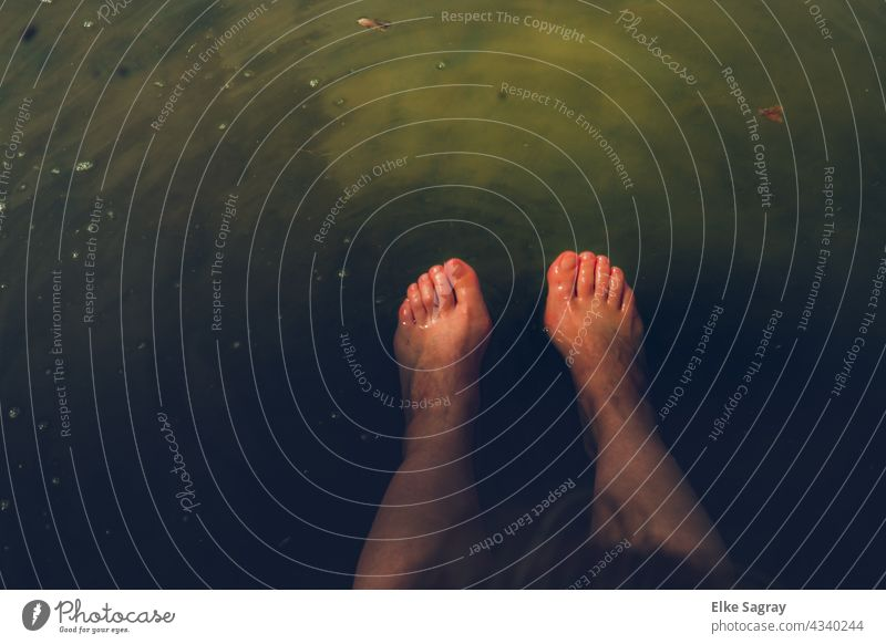 top view cooling dam feet in water plan Water Legs Relaxation Toes Woman Exterior shot Naked Skin Vacation & Travel