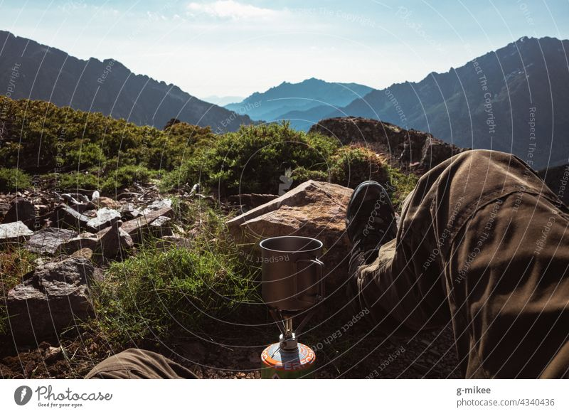 Coffee break in the mountains Hiking Camping Break Landscape outlook mountain landscape Mountain boil Nature Relaxation Summer vacation travel Discover