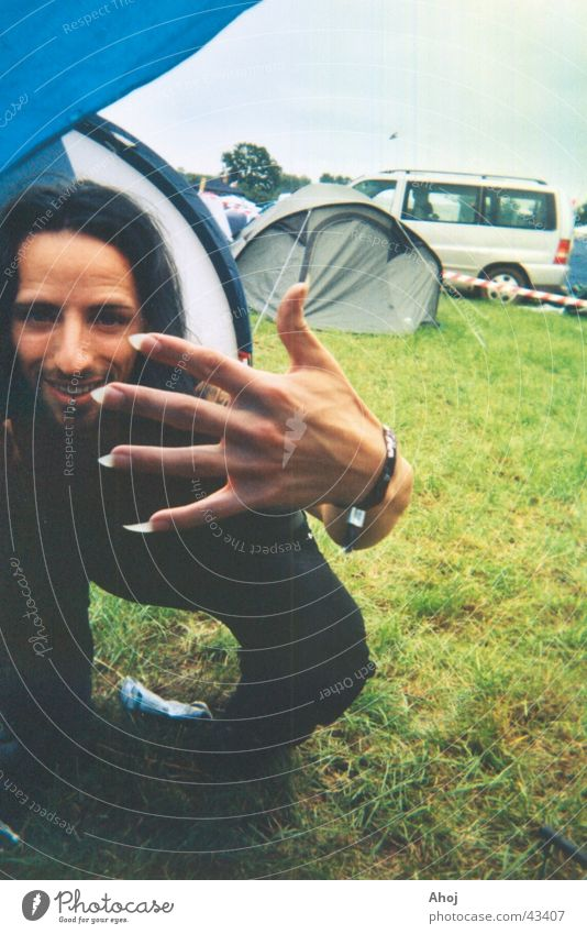 Man Hand Black Hair and hairstyles Point Guy Grinning Camping Nail Music festival