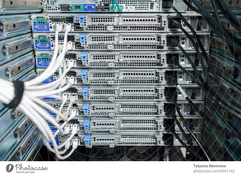 Working hardware in data center infrastructure server maintenance rack cables replacing blade mounted fiber optics rj45 recovery working it job network