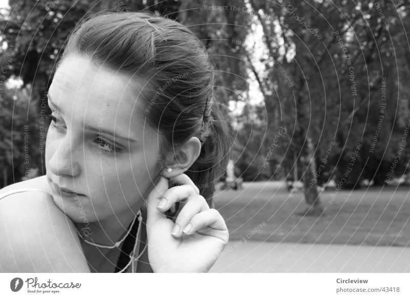 Is it somewhere else? Woman Portrait photograph Hand Park Black White Face Head Ear Earring Black & white photo Looking