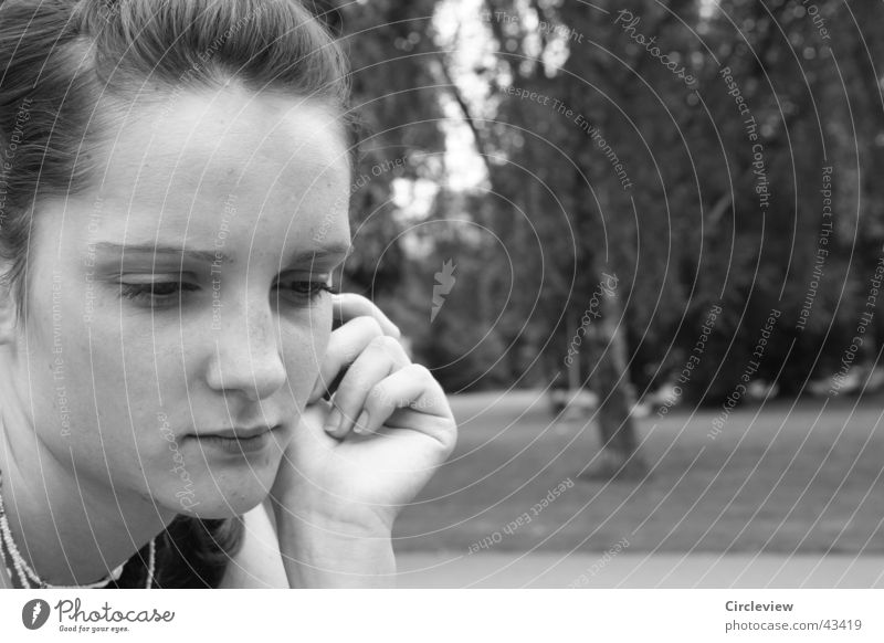 Constantly in thought Woman Hand Black White Park Portrait photograph Man Face Looking Black & white photo