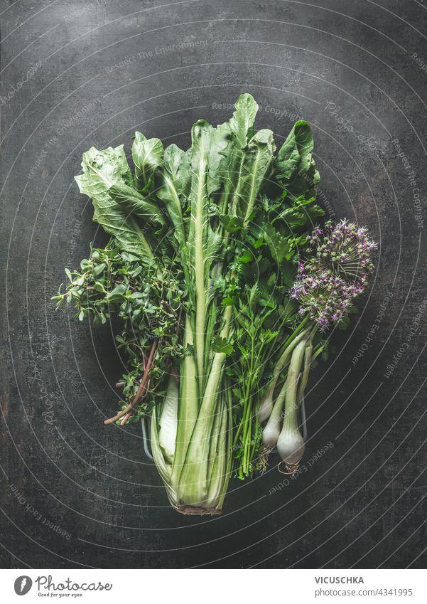 Bunch of various fresh green herbs on dark background. Top view bunch top view nature assorted medicine leaves seasoning aromatic leaf vegetarian ingredient