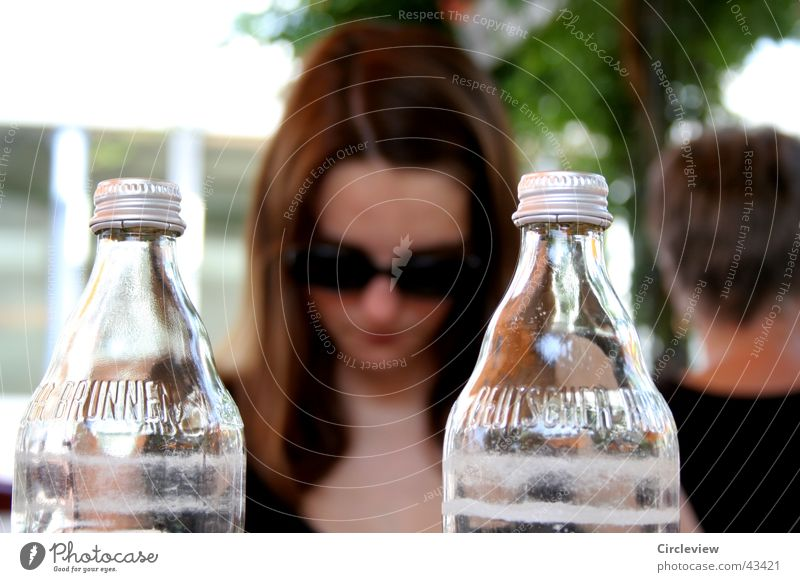 Behind glass Woman Blur Sunglasses Eyeglasses Glass Bottle Face Sit