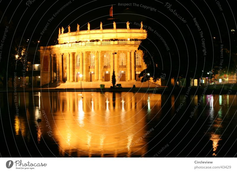 at night by road Stuttgart Night Building Long exposure Reflection Yellow Architecture night scene Gold Water
