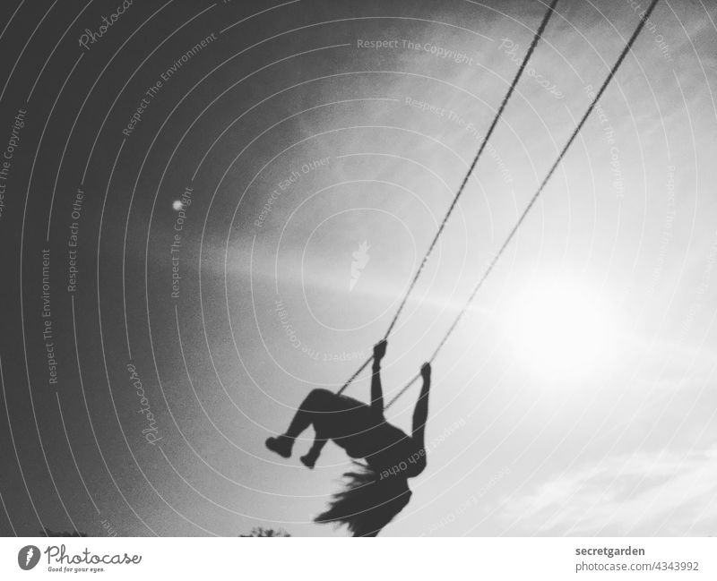 [PARKTOUR HH 2021] White unidentified flying object from the left To swing fun Release Black & white photo blurred Sky Trashy Joy Exterior shot