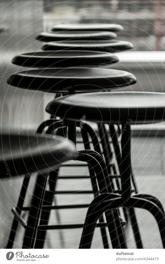 Chairs at the bar, black/white Stool Bar stool chairs Flare Black & white photo architectonically Seating Shadow Counter black-and-white Shadow play Sit