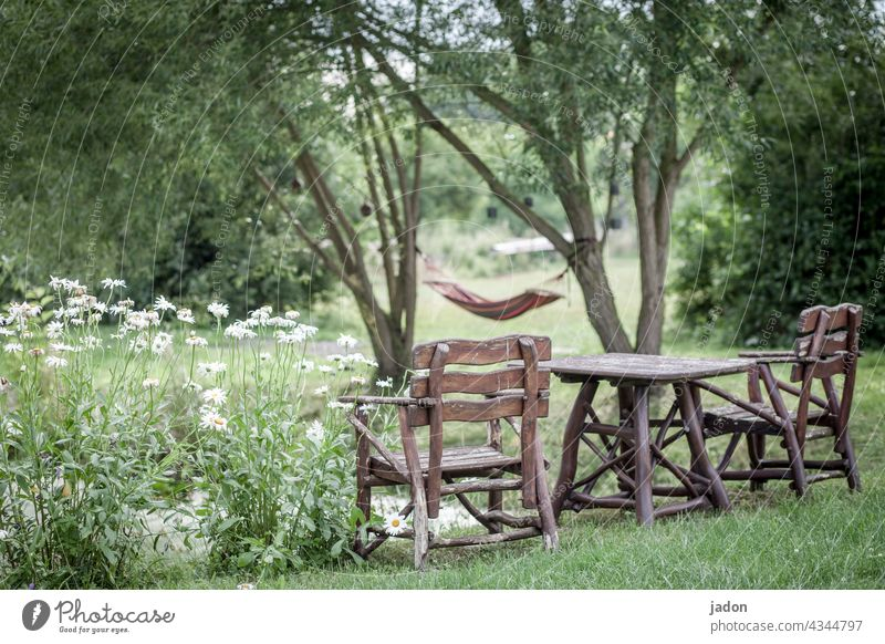 comfort zone. seating group Wooden table Wooden chair wooden furniture Nature flowers Hammock rest chill Shore of a pond trees Summer Exterior shot Break