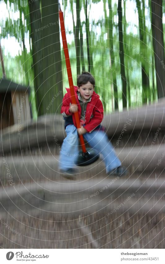 Child Man Jump Playing Movement Masculine Swing