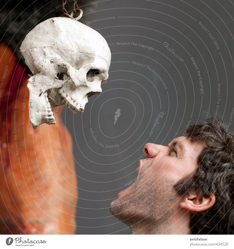 Scream as long as you can! Hallowe'en Fairs & Carnivals Human being Masculine Young man Youth (Young adults) Man Adults Skin Head Hair and hairstyles Face Eyes