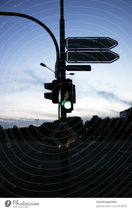 Green... go ahead. Transport Traffic light Night Sunset Truck Motorcycle Street Mixture Sky Road marking Car