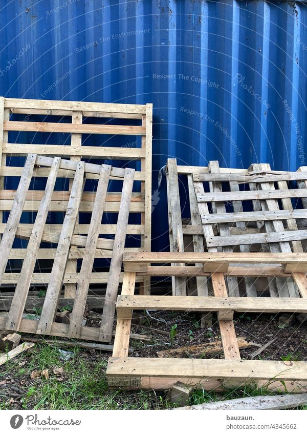 by the pallet. Palett on pallets Wood Exterior shot Colour photo Deserted Stack Logistics Industry Delivery Shipping Storage Business Container Trade cargo