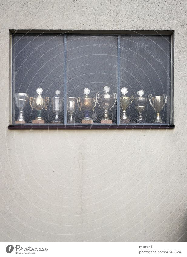 Trophy Collector Window house wall trophies Cups contest amass Abstract urban winners match cup game Past Hi-format Without persons
