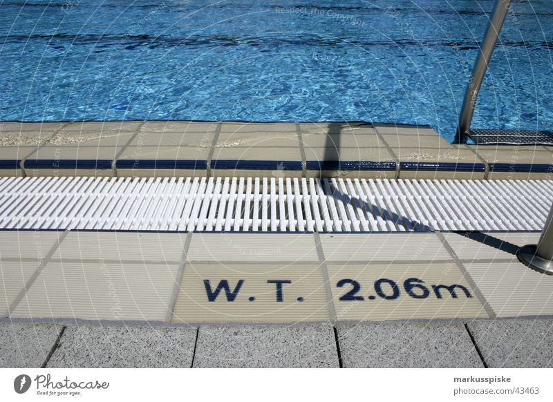 water depth: 2,06m Swimming pool Bathroom Pool border Pool ladder Chlorine Chrome Jump Sports Basin Water Drainage Sun Blue swimming dive Paving stone