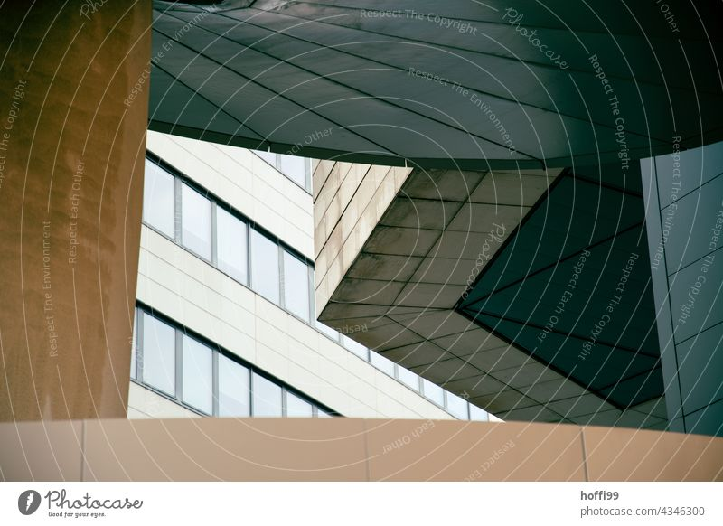 twisted concrete elements of a modern architecture exposed concrete Facade Architecture exposed concrete wall Modern Modern architecture urban