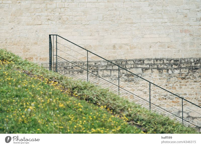Teppen railings in front of the city wall Old town Historic Buildings Tracks track search Decline dilapidated building Architecture Manmade structures Facade