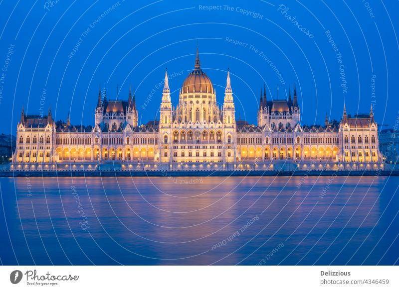 The famous parliament building in Budapest, Hungary during blue hour, illuminated hungary europa budapest city life city landscape architecture outdoors river