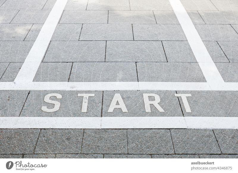 Start marker launch Starting line start Street Road Race race Beginning Deserted Day Footpath paving Paving stone Sidewalk Start position Town urban Running
