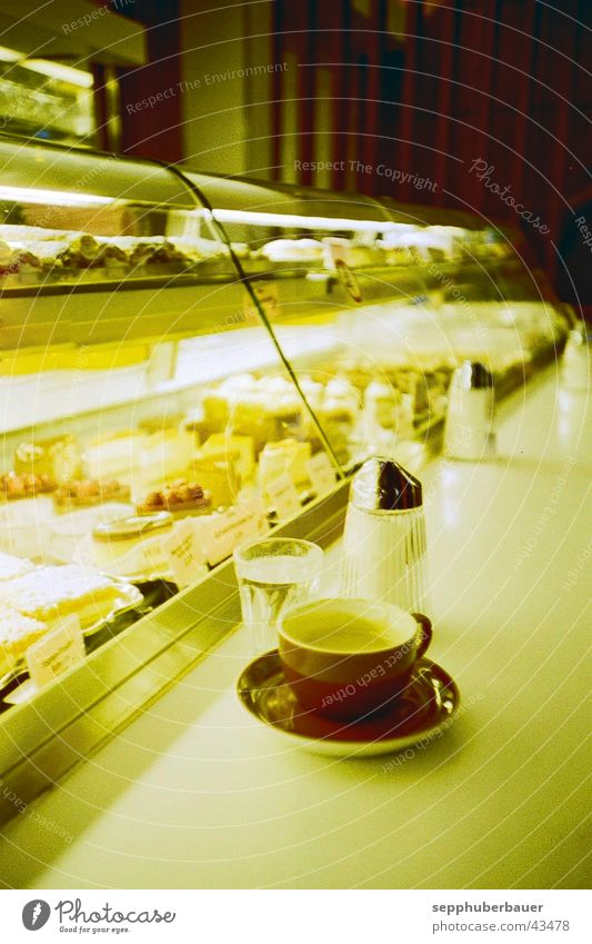 blend Cake To have a coffee Hot drink Coffee Moody Café Mixture Gateau Counter Vienna Viennese coffee Café society Gastronomy Interior shot Artificial light