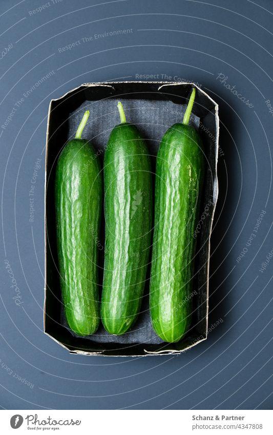 three cucumbers in cardboard packaging Cucumber Cucumbers organic Food Nutrition Healthy Eating Food photograph Vegetarian diet Vegetable Vegan diet