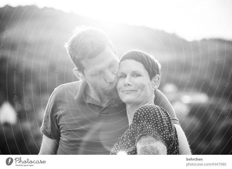 one-size-fits-all;) Related Harmonious Black & white photo Back-light Exterior shot Face Partner Infatuation Romance Joie de vivre (Vitality) Relationship