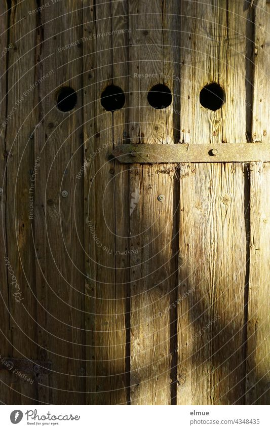 old wooden door of a natural cellar with four round ventilation holes, a door bolt and an old door fitting Wooden door Natural cellar Earth cellar storage room