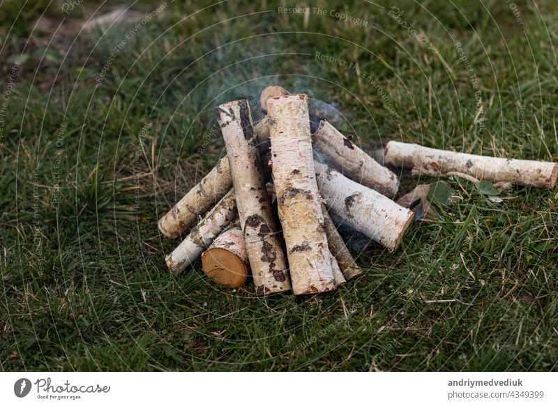 birch firewood stacked to light a bonfire on the grass place for firewood campfire alternative background environment board burn burner energy fireplace flame