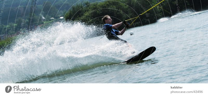 water skiing Lake Waves Sports Water Wooden board Sportsperson Rope Pull
