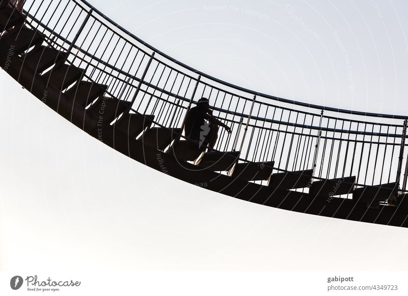 Man on floating stairs Exterior shot Sky Copy Space top Freedom Cloudless sky Tiger and Turtle Unafraid of heights Fear of heights Sculpture Architecture Stairs