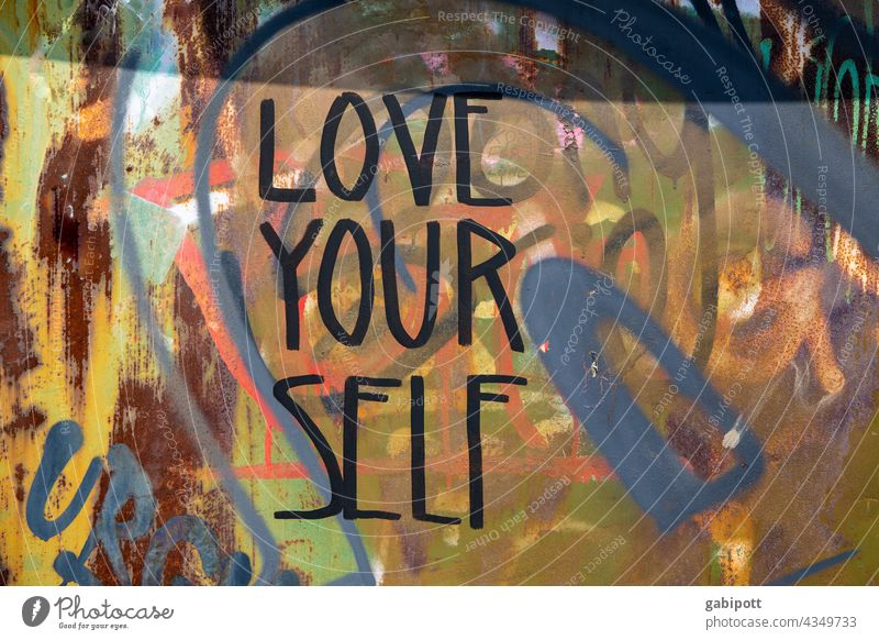 LOVE YOUR SELF - Graffiti on wall - drawn and painted house wall Characters Facade Daub Text Typography Wall (building) Word Letters (alphabet) Street art