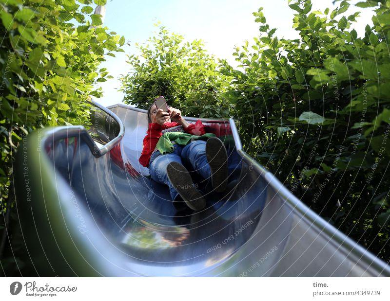 ParkTourHH21 | Tubular Mail Woman queer crazy Crazy Slide Cellphone bushes Playground Adventure