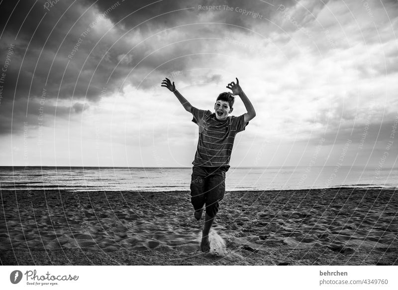 raise your hands weekend!!! Dramatic Usedom Black & white photo Freedom wide Wanderlust Sky Clouds Nature Waves Water Longing Ocean Beach Baltic Sea Landscape